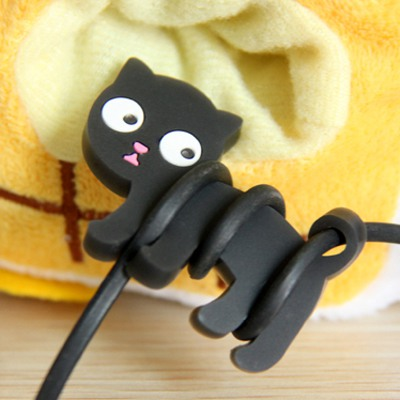 Hippie Black Cat Shape Simple Design Plastic Cord Fixer