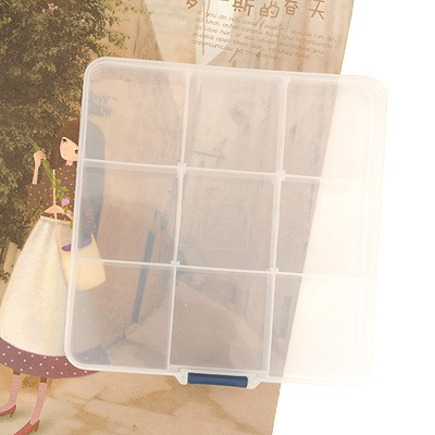 Famale Transparent 9 Grids Square Shape Detachable Medicine Box ABS Household goods