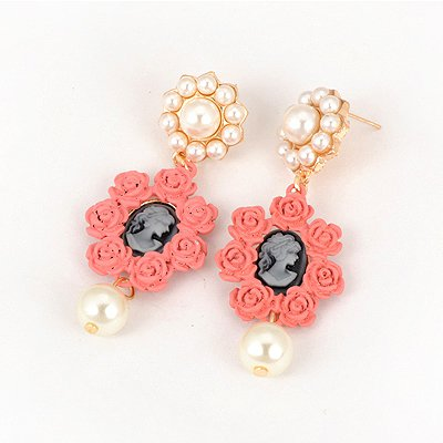 Collapsibl Pink Rose Shape Design Alloy Korean Earrings