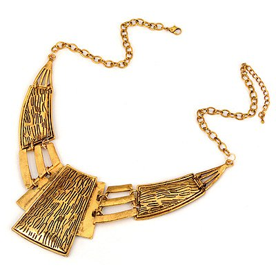 Special Bronze Geometry Matching Design Alloy Bib Necklaces
