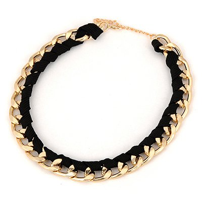 Toddler Black Braided Rope Design Alloy Chains
