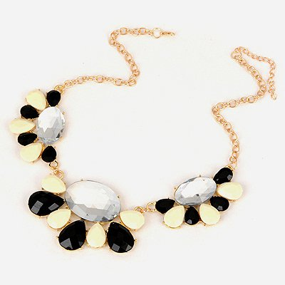 Rasta Black And White Drop Shape Design Alloy Bib Necklaces