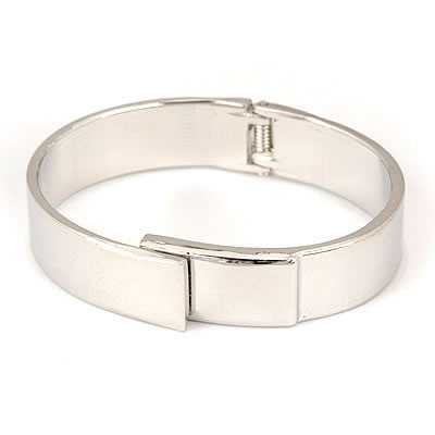 Vellum Silver Color Simple Circle Design Alloy Fashion Bangles