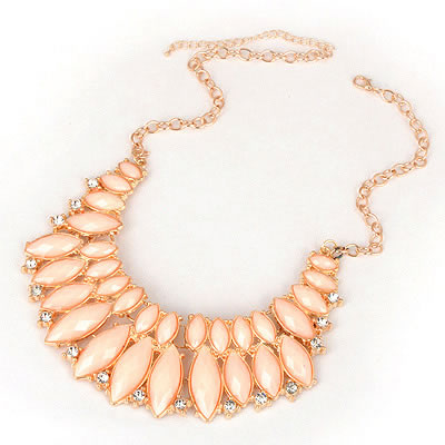 Modern Pink Section Acrylic Design Alloy Bib Necklaces