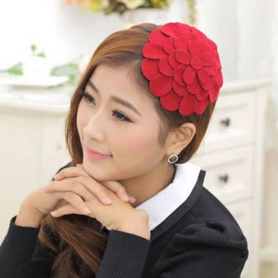 Extra Bright Red Flower Shape Design Alloy Hair band hair hoop