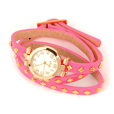 Pearl Plum Red Rivet Pu Design Alloy Fashion Watches