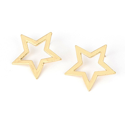 Mechanic Gold Color Five-Pointed Star Shape Alloy Stud Earrings