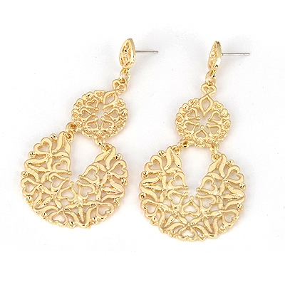 African Gold Color Circle  Stripe Design Alloy Korean Earrings