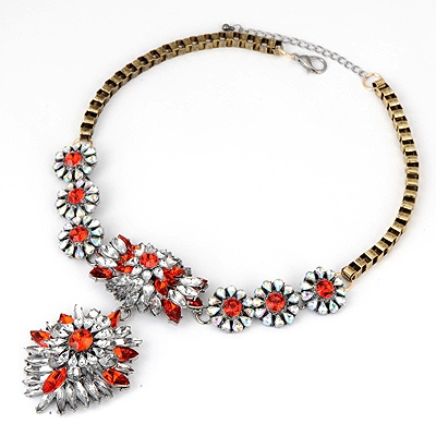 Hippie Red Bright Crystal Design Alloy Bib Necklaces