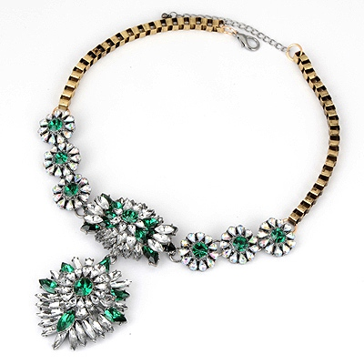 Homemade Green Bright Crystal Design Alloy Bib Necklaces