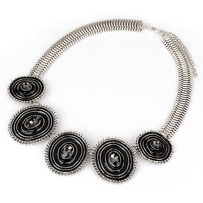 Homemade Gray Vintage Circle Design Alloy Bib Necklaces