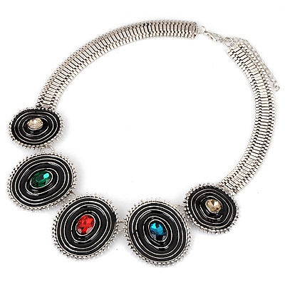 Organic Multicolor Vintage Circle Design Alloy Bib Necklaces