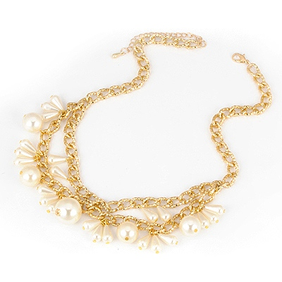 Affordable Gold Color Pearl Drop Shape Alloy Multi Strand Necklaces
