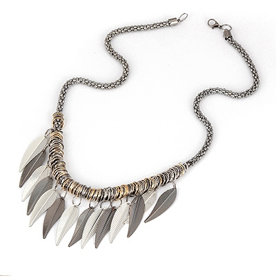 Military Gun-Black Tassels Leave Design Alloy Bib Necklaces