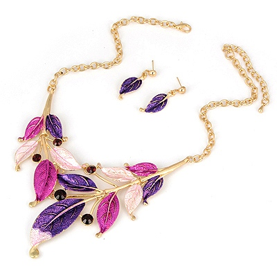 Rosary Purple Leave Painting Design Alloy Jewelry Sets