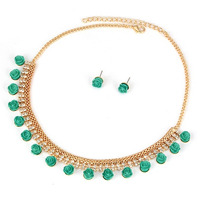 Roll Green Rose Design Alloy Jewelry Sets