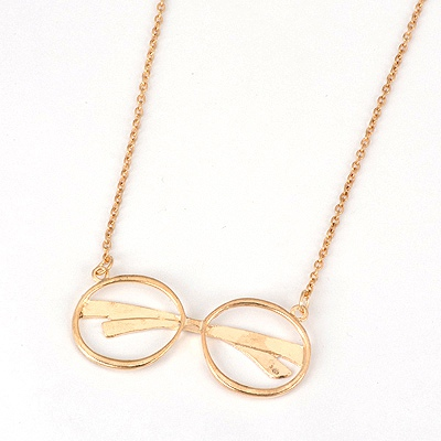Streamline Gold Color Glasses Shape Design Alloy Pendants