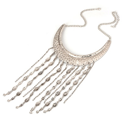 Winding Antique Tassel Crescent Moon Alloy Bib Necklaces