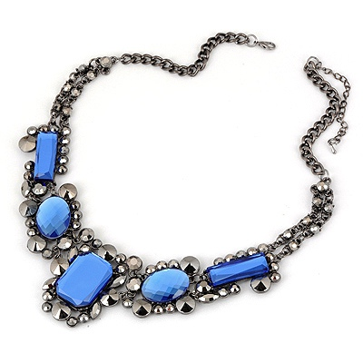 Shade Blue Vintage Geometric Shape Alloy Bib Necklaces