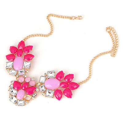 Rubber Plum Red Elegant Gemstone Design Alloy Bib Necklaces