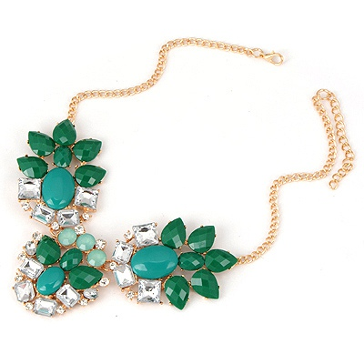 Dash Green Elegant Gemstone Design Alloy Bib Necklaces
