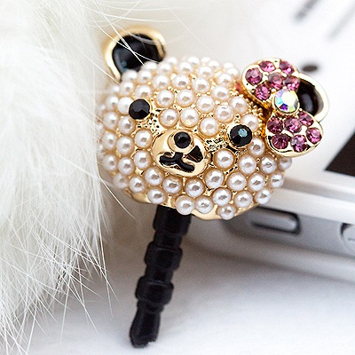 Quilted Pink Pearl Bear Design Alloy Anti-Dust Plug