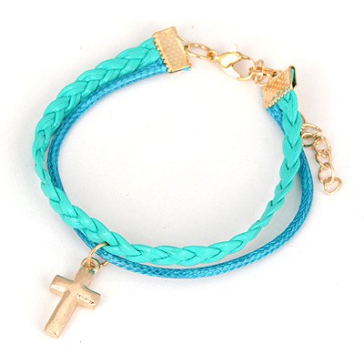 Oval Light Blue Cross Pendant Design Alloy Korean Fashion Bracelet