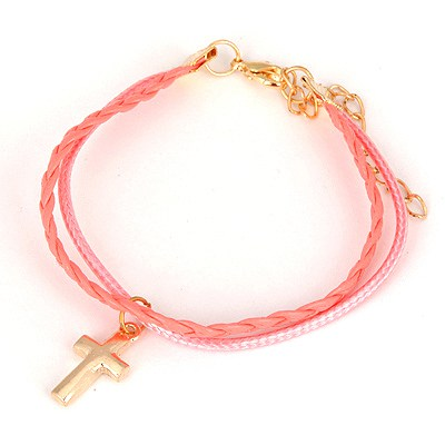 Imitation Pink Cross Pendant Design Alloy Korean Fashion Bracelet