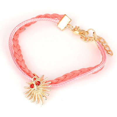 Smart Pink Owl Pendant Design Alloy Korean Fashion Bracelet