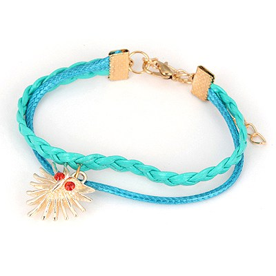 Asian Light Blue Owl Pendant Design Alloy Korean Fashion Bracelet