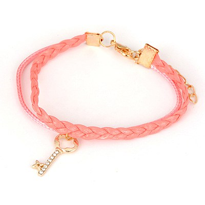 Puppy Pink Key Pendant Design Alloy Korean Fashion Bracelet