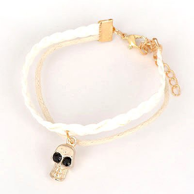 Pearl White Skull Pendant Design Alloy Korean Fashion Bracelet