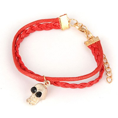 Affinity Red Skull Pendant Design Alloy Korean Fashion Bracelet