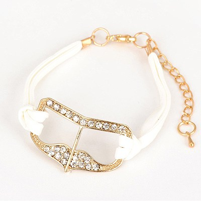 Fake White Heart Shape Decorated Design Alloy Korean Fashion Bracelet