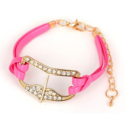 African Plum Red Heart Shape Decorated Design Alloy Korean Fashion Bracelet