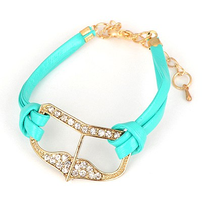 Heather Light Blue Heart Shape Decorated Design Alloy Korean Fashion Bracelet