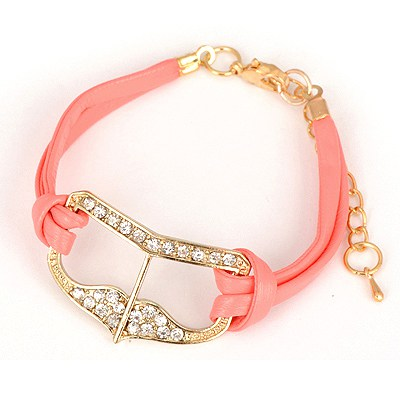 Monarchy Pink Heart Shape Decorated Design Alloy Korean Fashion Bracelet