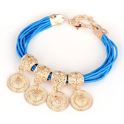 Scrabble Blue Four Wafer Pendant Design Alloy Korean Fashion Bracelet
