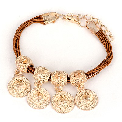 Madewell Coffee Four Wafer Pendant Design Alloy Korean Fashion Bracelet