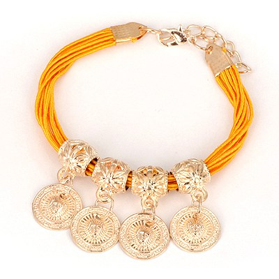Tummy Yellow Four Wafer Pendant Design Alloy Korean Fashion Bracelet