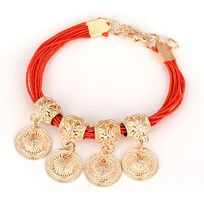 Jockey Red Four Wafer Pendant Design Alloy Korean Fashion Bracelet