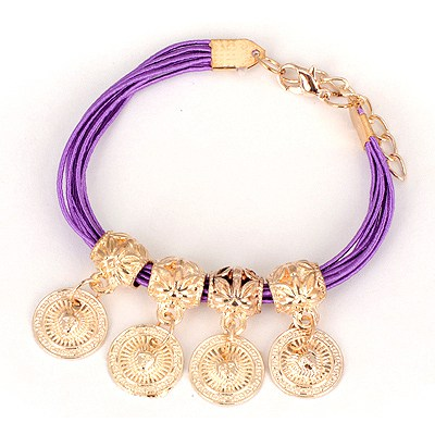 Kids Purple Four Wafer Pendant Design Alloy Korean Fashion Bracelet
