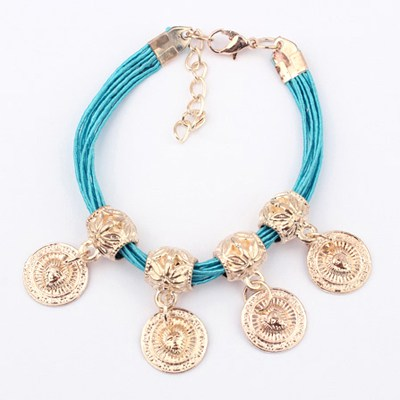 Beaded Light Blue Four Wafer Pendant Design Alloy Korean Fashion Bracelet