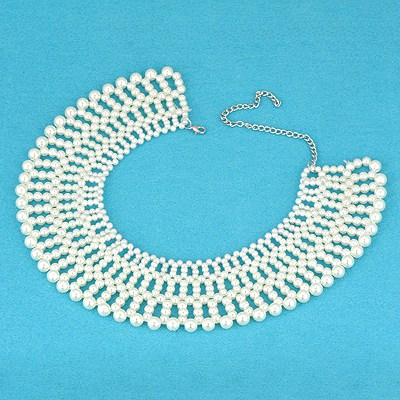 Pretty White Pearl Weave Design Pearl Chains