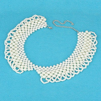 Ferret White Pearl Weave Design Pearl Beaded Necklaces