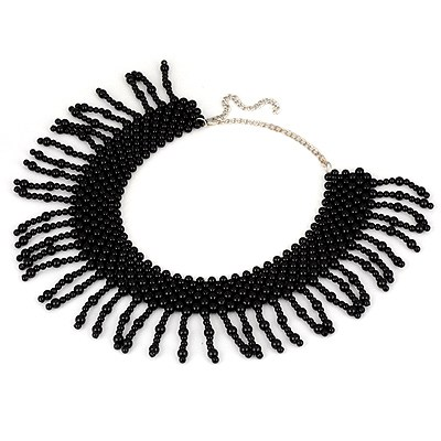 Fishing Black Pearl Tassel Design Pearl Bib Necklaces