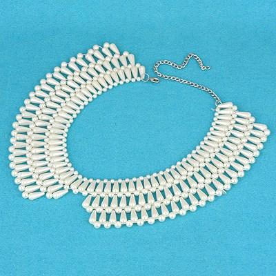 Native White Three Rows  Pearl Weave Design Pearl Bib Necklaces