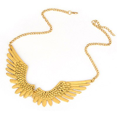 Floating Bronze Wing Shape Decorated Design Alloy Bib Necklaces
