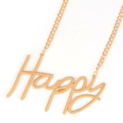 Cubic Gold Color Happy Letters Pendant Alloy Bib Necklaces