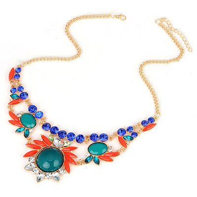 Hanging Green Gemstone Flower Design Alloy Bib Necklaces